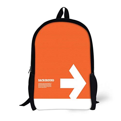Pinbeam Backpack Travel Daypack Orange Arrow Sign Next Button Navigation Symbol Triangles Waterproof School Bag