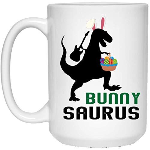 UMACVN Bunnysaurus Easter Bunny Ear Headband Dinosaur TRex MugCoffee Cup for Mother's Father's Day -