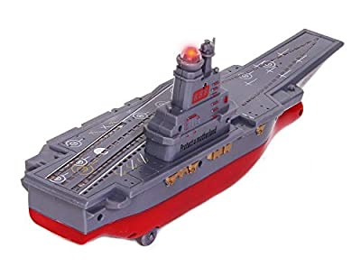 Military Ship Aircraft Carrier with SFX and Flashing Lights - Battery Operated Convoy Gunship Action Figure with Bump and Go Action | Novelty Battleship Military Vehicle Carrier Collectable Figurine