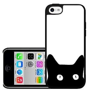 Black Kitty Cat Face on White Background Hard Snap on Phone Case (iPhone 5c)