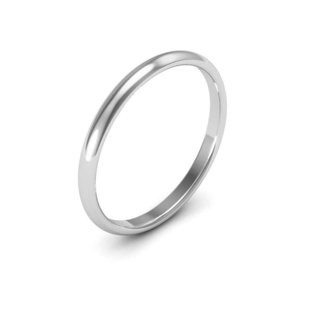 14K White Gold mens and womens plain wedding bands 2mm comfort-fit light