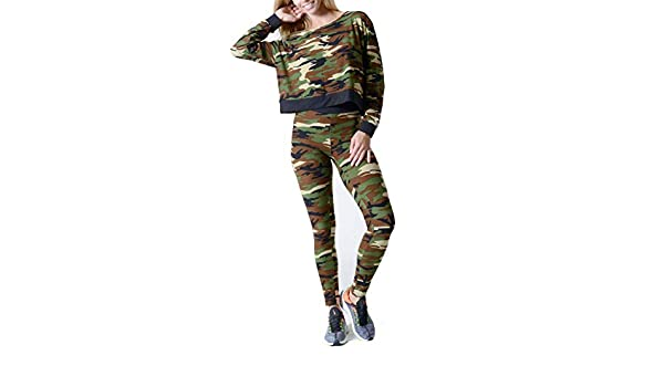 ac0d23bc0fe0a Clothing Sets for Women Camo Pullover Crop Top Leggings Two Piece Outfit at  Amazon Women's Clothing store:
