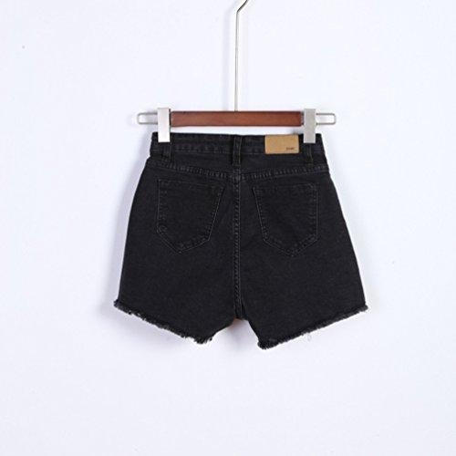 Femmes Chaud Mode Sexy Haute Jean En D't Short Lihaer Taille Jean Slim Pantalon Rtro De Noir Stretch Fxqw8dURU