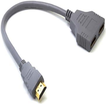 Cable Adaptador HDMI Macho a HDMI Hembra Dual de 1 a 2 vías para HDTV, Compatible con Dos televisores al Mismo Tiempo, señal de una Entrada, Dos Salidas: Amazon.es: Electrónica