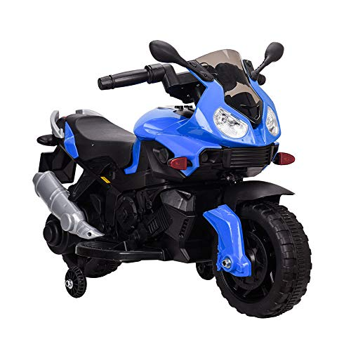 Tamco Sports Motorcycle Ride On Toy with Training Wheel, Electric Power Tricycle with Foot Pedal Starter, Music & Honk & Motorcycle Roar Sound, Super Easy Driving for Kids 2-4 Years Old, Max Load 45LB ()