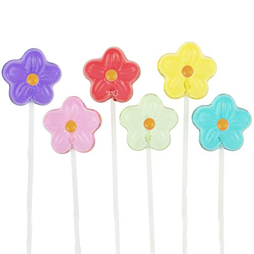 Twinkle Pops Lollipop, Daisy Shapes (Pack of 120 Lollipops), 12 inch Long Lollipop Stem, Handcrafted in USA, 6 Vibrant Colors, Fruit Flavors, 37.80 Ounce by Sparko Sweets
