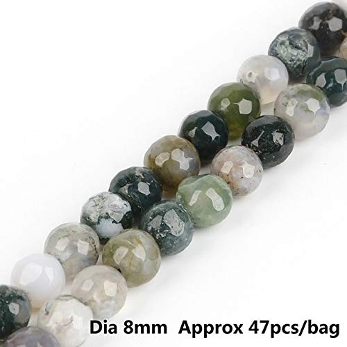 - Calvas New Bead Chain 8mm 15 inches About 47 Pieces/Bag Fashion Natural Color Faceted Stone Ball DIY Necklace Jewelry Making Findings - (Color: India Agate)