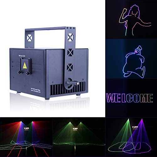 V-Show 3W RGB Laser Animation Laser Projector Dmx, 30K High Speed Scanner, 160 Patterns LED Stage Laser Light DMX-512 Sound Activated, ILDA for Parties Show Birthday Party Wedding Dance Lighting