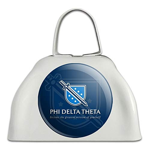 Phi Delta Theta Fraternity Logo Officially Licensed White Metal Cowbell Cow Bell Instrument