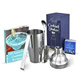 Cocktail Shaker Bar Tools Set – Premium Bartender Accessories Kit – 24 oz Stainless Steel Built-in Strainer, Measuring Jigger, Mixing Spoon, Bonus Ice Tongs, Drink Recipes Booklet & eBook – Gift