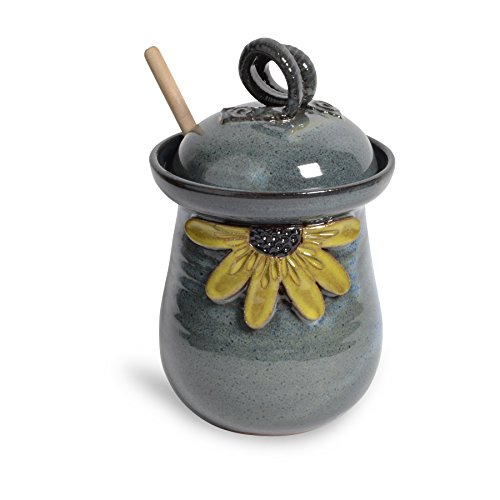 Yellow Pottery - MudWorks Pottery Black Eyed Susan Honey Pot