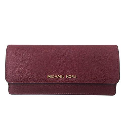 MICHAEL MICHAEL KORS Jet Set Travel Slim Saffiano Leather Wallet (Cherry/Gold)