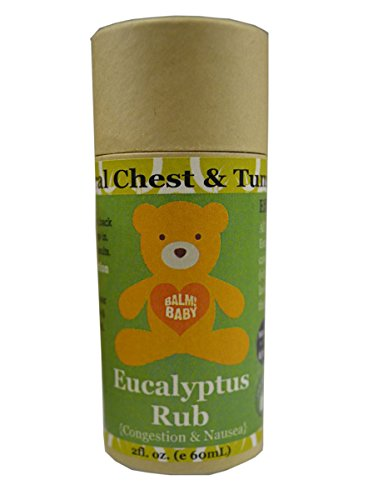 BALM! Baby EUCALYPTUS RUB - Natural Chest & Tummy Rub for Stuffy Noses & Chests and Nausea - Glass Jar {Made in the USA!} (2 Ounce - Stick)
