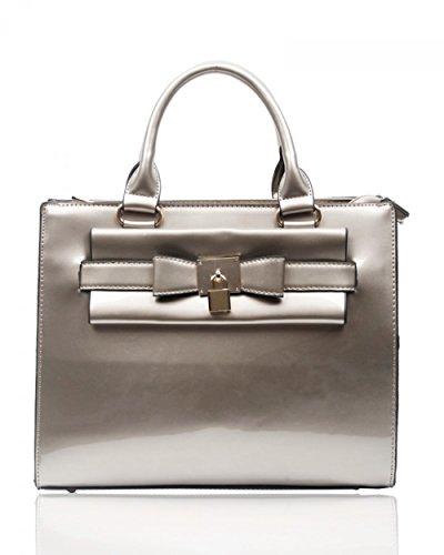 LeahWard® Damen Mode Essener Patent Tragetaschen Damen Qualität Modisch Shinny Handtasche CWRJ150535 160414 160411 Vorhängeschloss-Silver grHKx9