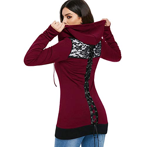DEZZAL Women's Gothic Lace Up Back Long Sleeve Zip Up Long Hoodie Jacket (Wine Red, L)