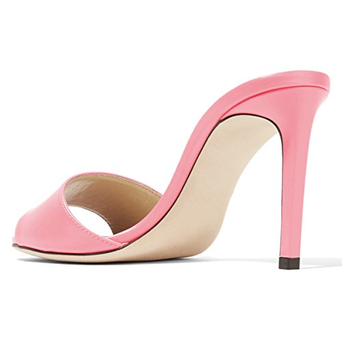 High Light Evening Casual pink Size Peep 4 Stiletto Women Sandals 15 US Party FSJ Heels Toe Mule Shoes Cf0Cqa