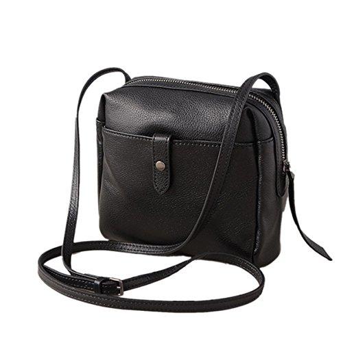 Mujer PU nuevo Estilo Moda Simple Bolsa Cuadrada Retro Portátil Solo Hombro Black