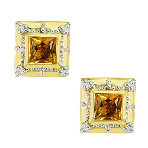 Michael Valitutti Palladium Silver Etruscan Collection Princess Cut Citrine Stud (Etruscan Collection)