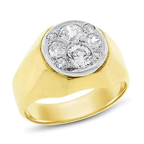 (0.60 Ct. Vintage Estate Old Mine Diamond Men's Pinky Ring in Solid 14k Yellow Gold)