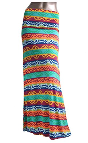 Azules Women's Poly Span Multiple Selection Print Maxi Skirt (M, Ethnic Mint G28)