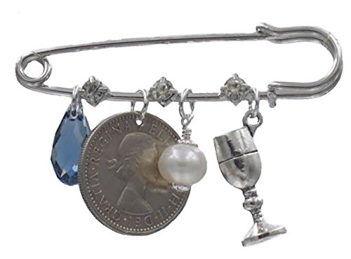 Better Than Buttons Denim Drop Crystal, Six Pence, Simulated Pearl, and Wine Glass Bridal Pin