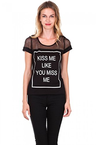 The Classic - Women'S Kiss Me Like Miss Me Mesh Print T-Shirt - S