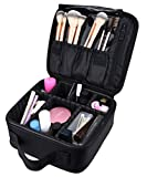 10'' Professional Portable Travel Makeup Case Cosmetic Bags Organizer Storage Bag Train Case (Black)