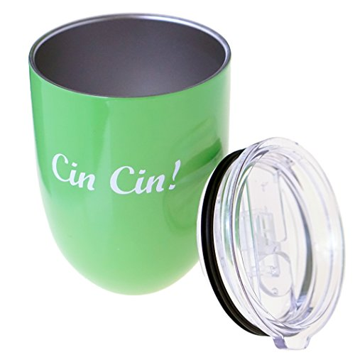 Best Wine Glass with Lid   Insulated Stainless Steel Stemless Wine Tumbler   10 Colors Available (Glossy Green Apple)