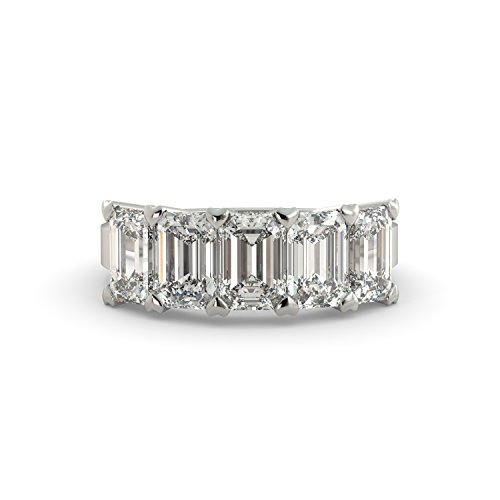 5.00 tcw Emerald Cut Charles & Colvard Forever One Moissanite 5-Stone Anniversary Band Bridal Ring Your choice of Solid 14k White Rose or Yellow Gold