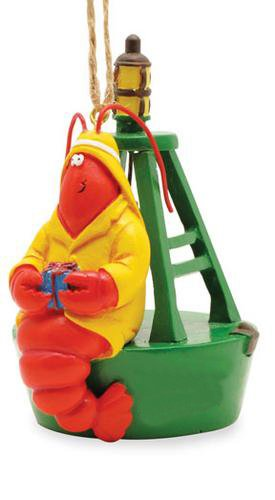 Cape Shore Red Lobster Fisherman on Bell Buoy With Gift Nautical Christmas Holiday Ornament
