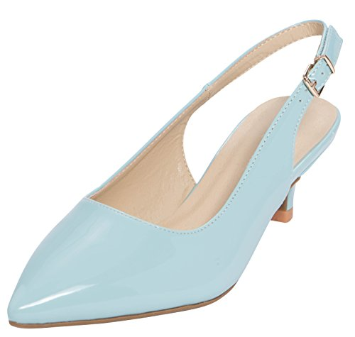 Cambridge Select Women's Closed Pointed Toe Buckled Slingback Kitten Heel Pump,10 B(M) US,Blue Patent PU