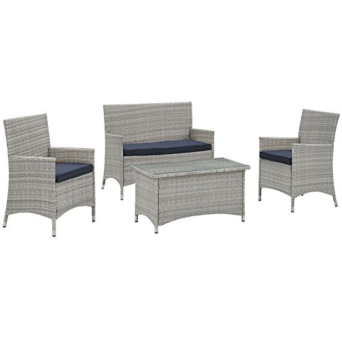 Modway Bridge 4Piece Outdoor Patio Conversation Set in Light Gray Navy by Modway