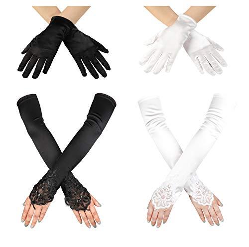 (Subiceto 4 Pairs Fingerless Beads Glove Lady Women's Long Satin Summer UV Gloves for Bridal Wedding Opera Party Dress Prom)