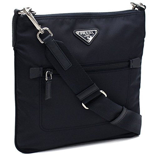 (Prada Black Tessuto Nylon Messenger Crossbody Handbag 1BH716)