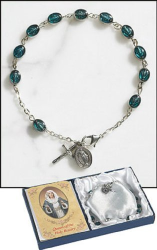 Gifts Of Faith Ave Maria Miraculous Medal Rosary 8.5-inch Bracelet with Unique Tear Drop Epoxy Miraculous Medal Beads - Miraculous Epoxy