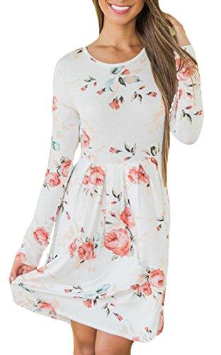 Jaycargogo Femmes Imprimé Floral Tunique À Manches Longues Lâche Mini Robe Chemise Blanche Décontractée