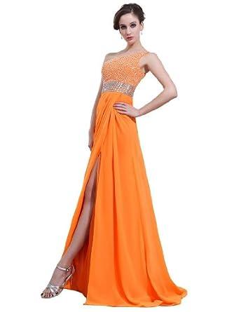 Albizia Womens Orange One-shoulder Beading Prom Dresses