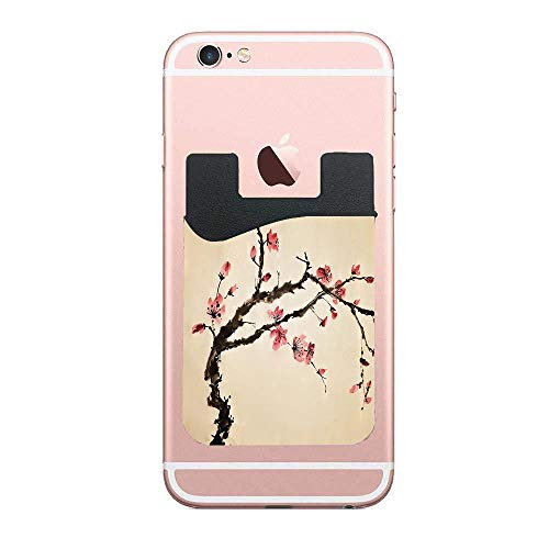 CardlyPhCardH Traditional Chinese Paint Style of Tree with Highly Detail Effects Phone Card Holder Sleeves Wallet Pocket Card ID Holder Pouch Sticker on with iPhone Samsung Galaxy Android 2 PCS