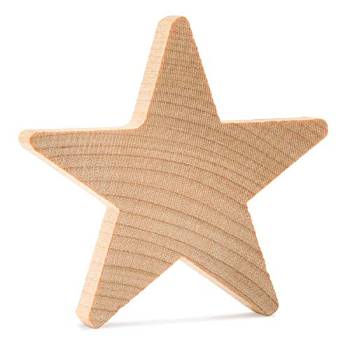 Wood Star ¾ Inch,Small Star, Natural Unfinished Wooden Star Cutout Shape (3/4 Inch) (250) by - 250 Star