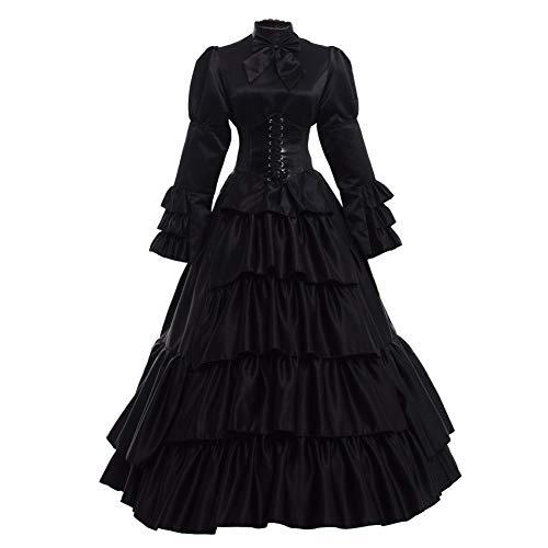 GRACEART Women Gothic Victorian Rococo Dress Costumes Balck XXL Black