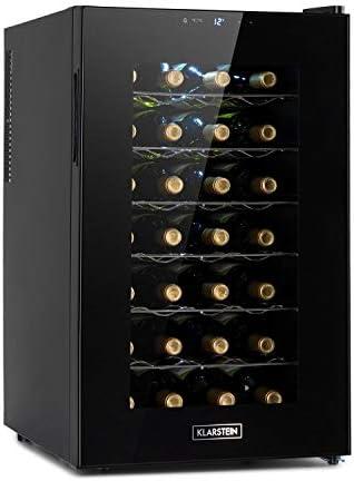 Klarstein Barolo 28 Uno nevera para vinos, 70 litros / 28 botellas, temperatura: 11-18 °C, ruido: 26 dB, 6 baldas, luces LED, protección UV, nevera incependiente, negro[Clase de eficiencia energética G]