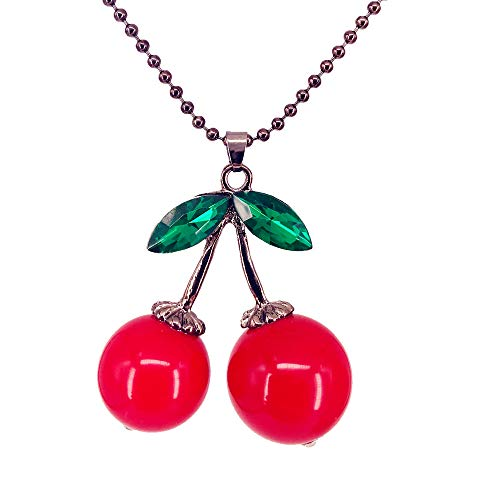 QTMY Cute Cherry Pendant Long Necklace Jewelry for Teen Girls Women ()