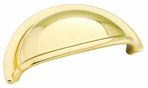 Amerock BP4235B Advantage Solid Brass Cup Pull, Bright Brass, 3-Inch Center-to-Center