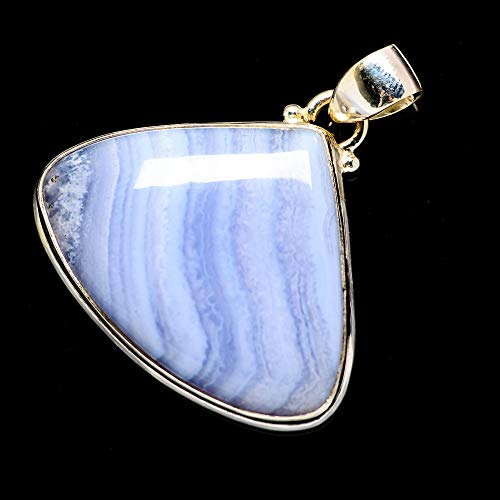 Ana Silver Co Blue Lace Agate 925 Sterling Silver Pendant 1 1/2