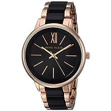 Anne Klein Women's Rose Gold-Tone and Black Bracelet Watch