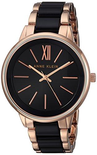 (Anne Klein Women's Rose Gold-Tone and Black Bracelet Watch)