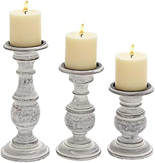 Deco 79 Wood Candle Holder 10 by 8 by 6-Inch White  sc 1 st  Amazon.com & Amazon.com: FengMicon White Metal Pillar Candle Holder Set of 3 ...