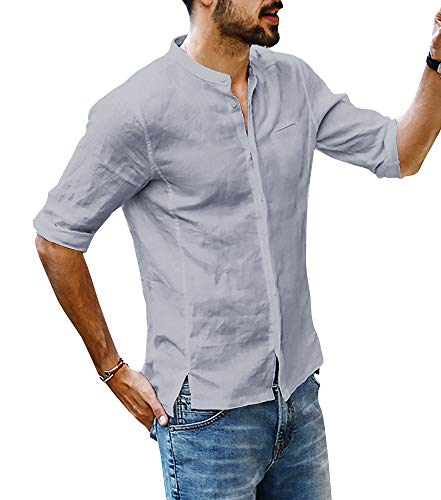 Beotyshow Mens 3/4 Short Sleeve Henley Polo Shirts Banded Stand Collar Golf Button Down Shirt Stylish Clothing Summer Linen Blouses Casual Hippie Shirts for Men Grey - Banded Collar Shirt Work Sleeve Short