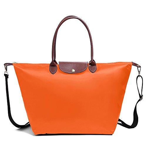 Bag Waterproof Shoulder Orange Nylon Tote Stylish Bekilole Bags Women's Beach Travel Strap With q6UOHR