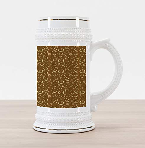 Ambesonne Western Beer Stein Mug, Horse Shoe Motif Vintage Pattern with Star Barn Lucky Charm Design, Traditional Style Decorative Printed Ceramic Large Beer Mug Stein, Brown Pale Yellow ()